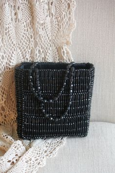 Vintage black beaded handbag by RueGenevieveM on Etsy