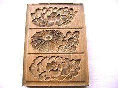 Vintage Japanese Kashigata Sweets Mold Lotus  Peony Chrysanthemum
