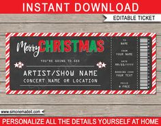 Concert Ticket Template Free Download Simple Christmas Gift Concert Ticket Template  Red Green & White .