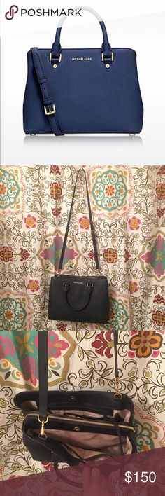 Michael Kors Savannah Crossbody ~ navy blue I love this Savannah Crossbody style!!!! I'm selling as I purchased another color. This purse looks like new very minor scratches on bottom as pictured MICHAEL Michael Kors Bags Crossbody Bags