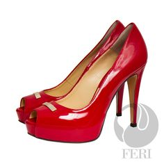 "FERI - BRIDGET - SHOES - Red Patent - Patent napa leather pump with stiletto heel - Napa leather sole and insole - Colour: Red - FERI logo hardware on sole and top of toe - Heel height: 4.75"" with a platform 1.08""  Invest with confidence in FERI Designer Lines. www.gwtcorp.com/ghem or email fashionforghem.com for big discount"
