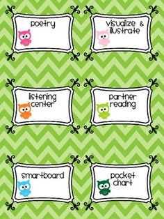 Owl labels for center buckets- great for owl theme classroom!