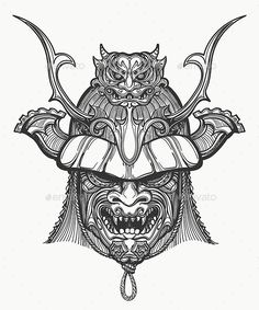 Japan Samurai Mask - Tattoos Vectors Japanese Tattoo Samurai, Japanese Tattoo Words, Small Japanese Tattoo, Japanese Mask Tattoo, Japanese Tattoo Symbols, Japanese Sleeve Tattoos, Sleeve Tattoos For Women, Samurai Maske Tattoo, Hannya Samurai