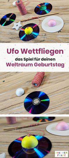 Game ideas for space birthday there are quite a few. How about, for example, UFO competitions? On frecher-fratz.de you& find even more great ideas for your space birthday! Games For Kids, Diy For Kids, Crafts For Kids, Galaxy Party, Manualidades Halloween, Space Party, Ideas Geniales, Birthday Games, Birthday Ideas