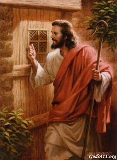 Jesus Knocking Your Door. Notice there is no handle on the outside- He waits for you to choose to open it from the inside.
