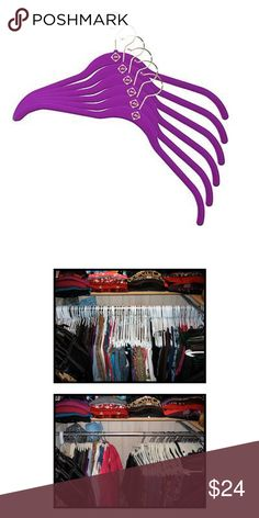 18pc Velvet Huggable Hangers - purple These bangers are NEW. 18 pack Joy Mangano Huggable Shirt Hangers. Hangers are slim. Velvet material makes it hard for stubborn clothing to fall off. Also makes your closet extra spacious with the slimming design. Color purple with brass color hooks. Joy Mangano Accessories