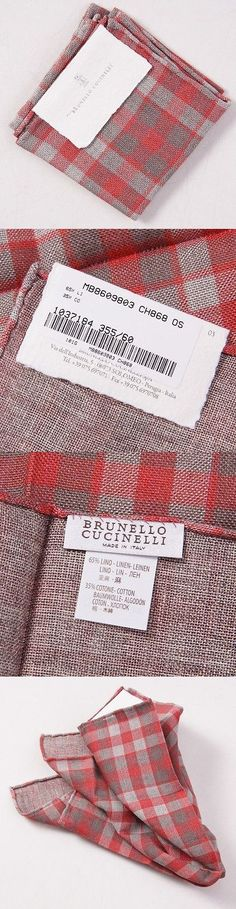 Handkerchiefs 167902: Nwt $155 Brunello Cucinelli Coral-Gray Check Linen Pocket Square Gift Package -> BUY IT NOW ONLY: $49 on eBay!