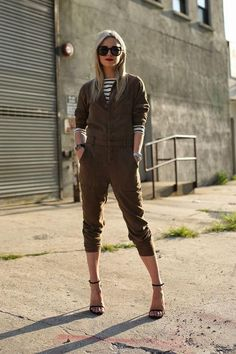 Street style ideas for wearing a jumpsuit this fall, including Atlantic-Pacific's army green style