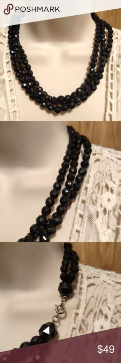 Vintage Black Glass Bead French Necklace Bib Art Deco Vintage 1950s Black French Jet Glass Crystal Cut Beaded Bib Multi Strand Necklace   Vintage necklace. Black French Jet cut crystal/glass beads. 19 inches long. Multi strand. Silver tone working spring clasp. In lovely vintage condition. Beads are approx. 6 mm. VINTAGE Jewelry Necklaces