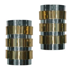 Pair of Brass and Chrome Wall Sconces