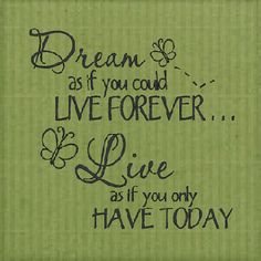 """Dream as if you could live forever... Live as if you only have today"""