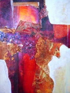"""BARBARA VAN ROOYAN ABSTRACT ART: """"Incandescent Canyon"""" Original Abstract Mixed Media Painting by California Contemporary Mixed Media Artist Barbara Van Rooyan"""