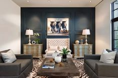 Navy Blue Sofa Living Room Ideas New 16 living rooms with accent walls blaue akzente Blue Accent Walls, Accent Walls In Living Room, Living Room Grey, Interior Design Living Room, Living Room Decor, Living Rooms, Interior Paint, Interior Colors, Interior Livingroom