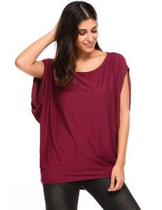 Black Batwing Short Slit Sleeve Solid Pullover Loose T-Shirt
