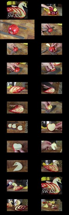 How to Make an Edible Apple Swan by The King of Random #Food_Art #Apple #Swan