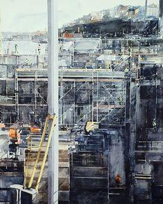 Re-construction. Watercolor by Elisabeth Biström, 2020. Watercolors, New York Skyline, Times Square, Construction, Travel, Instagram, Building, Water Colors, Viajes