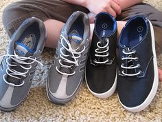 Convert lace-up shoes to slip-ons by replacing shoelaces with elastic cord.