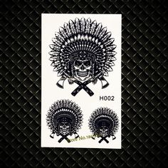 4a905b0ecb99f Indian Man Warriors Temporary Tattoo Black Ink Henna Waterproof Transfer Tattoo  Stickers GH002 Women Totem Body