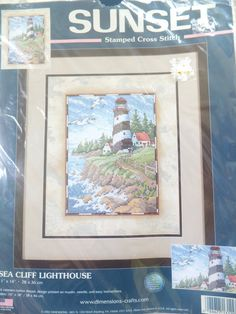 15 Discount Sea Cliff Lighthouse Stamped Cross by jebstreasures, $18.00