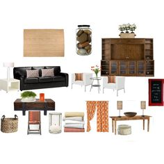 "Living Room Decorating Ideas on a Budget - ""Connie's Family Room Redo"" by lisaag on Polyvore"