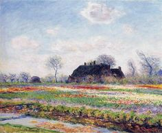 Tulip Fields at Sassenheim, near Leiden, 1886 by Claude Monet. Impressionism. landscape. Sterling and Francine Clark Art Institute at Williamstown, MA, USA