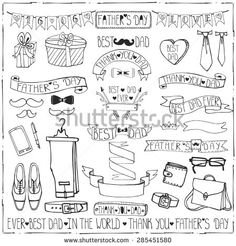 Doodle vector.Fathers day decor elements and lettering set.Linear  Hand drawing ribbons banner,badges,bow tie,male collection.For party invitation,card,template.Retro gentleman style