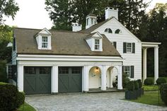Did you remember to shut the garage door? Most smart garage door openers tell you if it's open or shut no matter where you are. A new garage door can boost your curb appeal and the value of your home. Porte Cochere, Interior Exterior, Exterior Design, Exterior Doors, Garage Addition, Porch Addition, Garage Remodel, Breezeway, White Houses