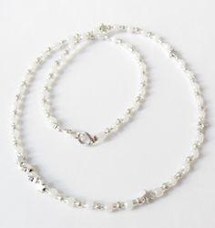 Glasperlen-Kette mit Sternen weiß-silber von soschoen auf DaWanda.com