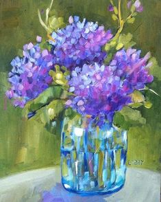 """Daily Paintworks - """"Backyard Blooms"""" - Original Fine Art for Sale - © Libby Anderson Hydrangea Painting, Lilac Painting, Unicorn Painting, Oil Painting On Canvas, Arte Floral, Pollock Paintings, Guache, Abstract Wall Art, Painting Abstract"""