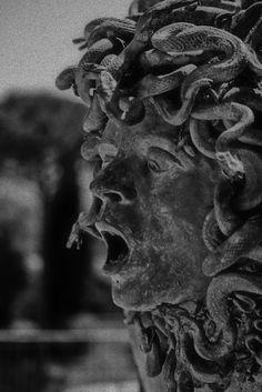 tierradentro:  Medusa sculpture (c.2nd century AD)at Hadrian's Villa, Tivoli, Italy.
