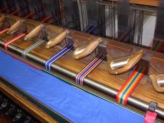 Ribbons being woven