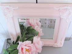 French Framed Mirror Vintage Wall Decor Pink by VintageFrenchRoses