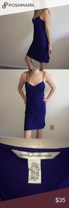 """Diane Von Furstenberg Silk Blend Slip Dress Excellent used condition. Adjustable spaghetti straps. Super flattering fit. This was a hand me down from a friend. I believe it may have come with an outer shell. 95% Silk. 5% Lycra. Dry clean. Was dry cleaned after its last wearing. I removed the dry cleaning tag to take a picture of the dress' tag. Royal blue color. For reference, my model is 5 feet 9"""" tall and 120 pounds. CE Diane Von Furstenberg Dresses"""