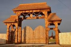 Carved wooden entrance of Monastry Wooden Gates, Seattle Skyline, Paths, Gazebo, Entrance, Carving, Outdoor Structures, Traditional, Vacation