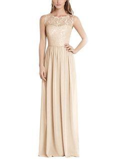 Firose Illusion Neck A-Line Long Chiffon Lace Formal Bridesmaid Dress Champagne US 8