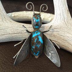 Huge Old Bug Pin Bisbee Turquoise