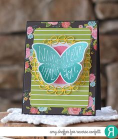 Card by Amy Sheffer. Reverse Confetti stamp set: Butterfly Dreams. Confetti Cuts: Butterfly Dreams and Wreaths. Quick Card Panels: So Very Spring. Thank you card. Friendship card.