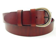 "Made in USA 1 3/8"" burgundy Latigo leather belt with brushed gun metal buckle"