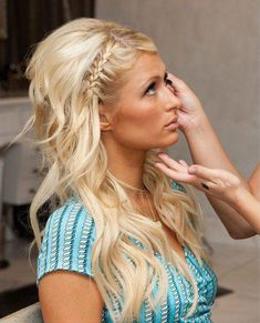 french braid on opposite side of part. Love this look for my wedding hair! This may be more necessary.