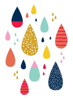 "Artículos similares a Colorful Raindrops 5 ""x Print por The Friends Dripping en Etsy Ähnliche Artikel wie Bunte Regentropfen 5 ""x Drucken, indem wir Die Freunde tropft auf Etsy Impresión colorida de las gotas de agua de Lets Diefriends Decoration Creche, Deco Cafe, Motifs Textiles, Colorful Wall Art, Pattern Illustration, Illustration Kids, Pretty Patterns, Surface Pattern Design, Colour Pattern"