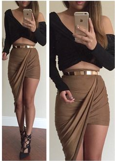 Suede Twisted Unbalanced Skirt (more colors) – Colors of Aurora