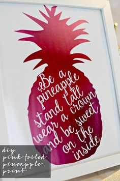 DIY Pink Foiled Pineapple Print