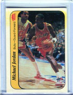 087d81f97f5 1986-87 Fleer MICHAEL JORDAN Sticker RC Rookie Card Good Condition    Stained Basketball Season