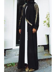 Grecian Gold Leaf Abaya has so much appeal and glittering, scintillating gold thread and pearl details. Abaya Fashion, Kimono Fashion, Abaya Designs Latest, Hijab Dress, Abayas, Gold Leaf, Formal Wear, Peony, Chiffon