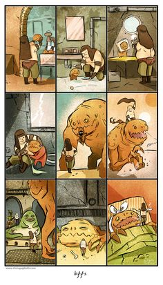 Baby Rancor lovingly raised by his keeper Malakili. The best part is that he survives and is nursed back to health. Comic by Chris Gugliotti.