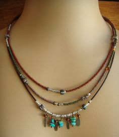 Adornments and Glass Beaded Necklace seed bead strands and decorated seed bead strand with gemstone dangles