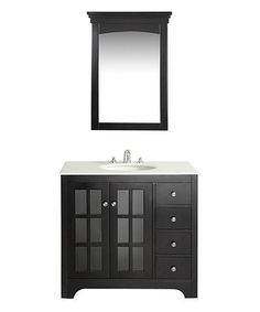 Another great find on #zulily! Black & Quartz Marble Orleans 36'' Bath Vanity #zulilyfinds