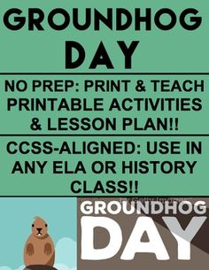 GROUNDHOG DAY: NO PREP Lesson Plan & Student Printables for GROUNDHOG DAY. Simply Print, Project & Teach this GROUNDHOG DAY!! #groundhogdaylesson