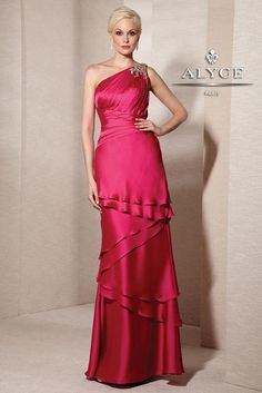 Jean De Lys 29596 Sexy one shoulder in pink, satin chiffon with layers on skirt. Mothers and special occasion.