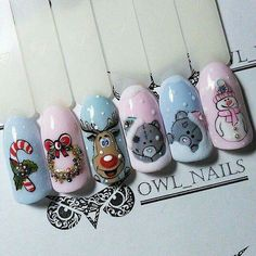 Nails Stuff - the largest selection of various nail art and accessories at affordable prices Nail Art Noel, Xmas Nails, New Year's Nails, Winter Nail Art, Christmas Nail Art, Holiday Nails, Winter Nails, Christmas Manicure, Owl Nails